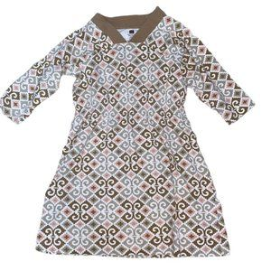 Tea Collection Brown/Mauve Print L/S Cotton Dress